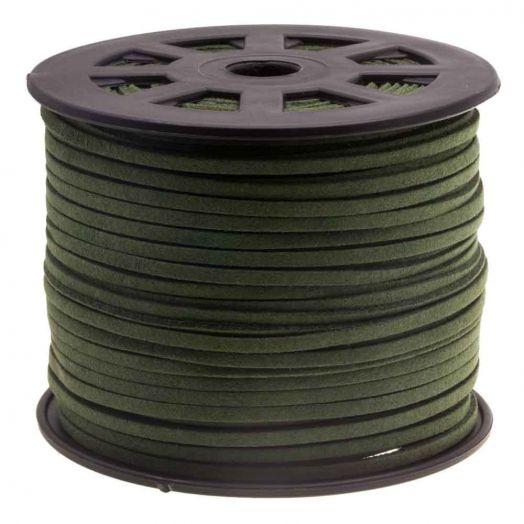 Faux Suede Veter (3 mm) Army Green (10 Meter)