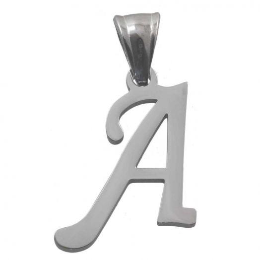 Stainless Steel Initiaal Hanger A (32 mm) Antiek Zilver (1 Stuks)
