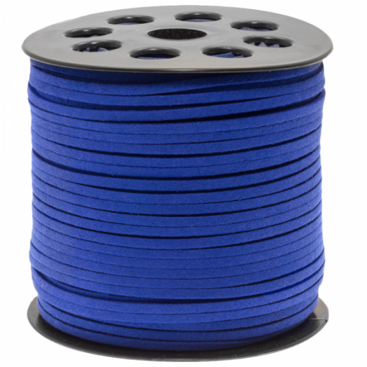 Faux Suede Veter (3 mm)  Strong Blue (10 Meter)