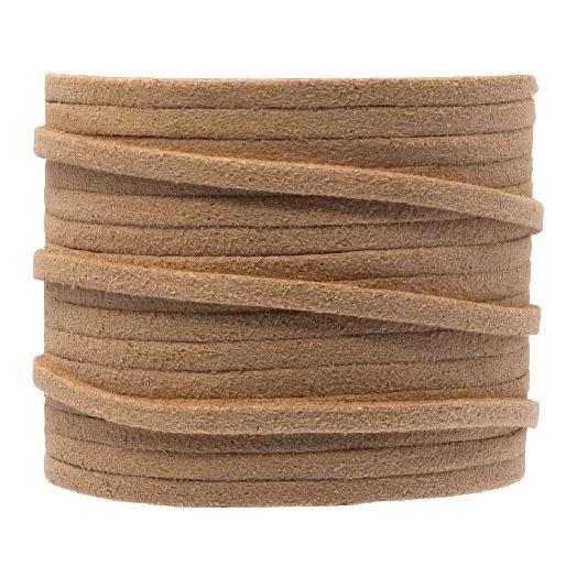 Faux Suede Veter (3 mm) Brown Sand (5 Meter)