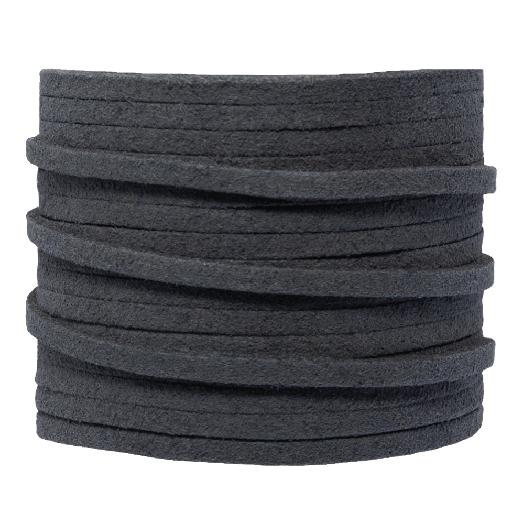 Faux Suede Veter (3 mm) Dark Grey (5 Meter)