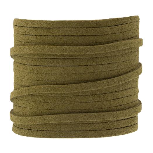 Faux Suede Veter (3 mm) Moss Green (5 Meter)