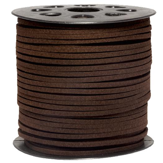 Faux Suede Veter (3 mm) Chocolate Brown (91 Meter)
