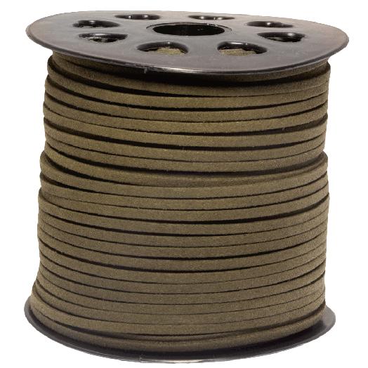 Faux Suede Veter (3 mm) Dusky Green (91 Meter)