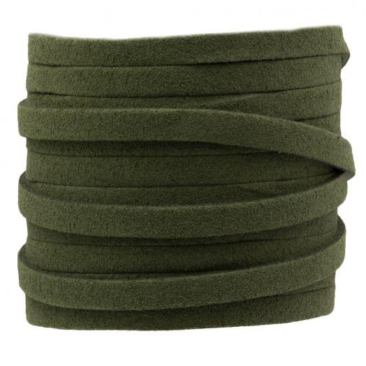 Faux Suede Veter (5 mm) Army Green (5 Meter)
