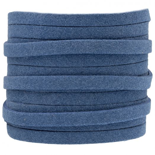 Faux Suede Veter (5 mm) Jeans Blue (5 Meter)
