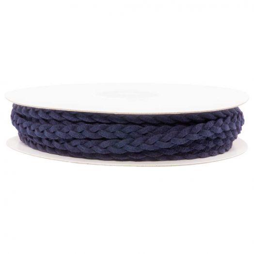 Gevlochten Faux Suede Veter (5 mm) Dark Blue (10 Meter)
