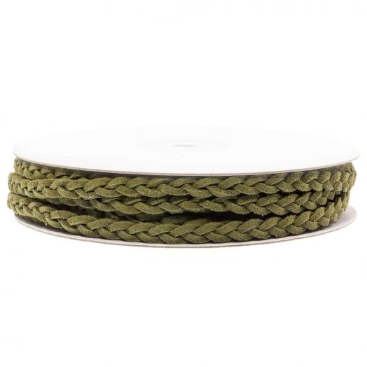 Gevlochten Faux Suede Veter (5 mm) Olive Green (10 Meter)