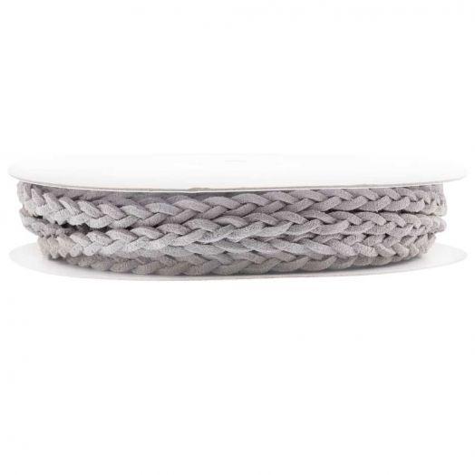 Gevlochten Faux Suede Veter (5 mm) Grey (10 Meter)