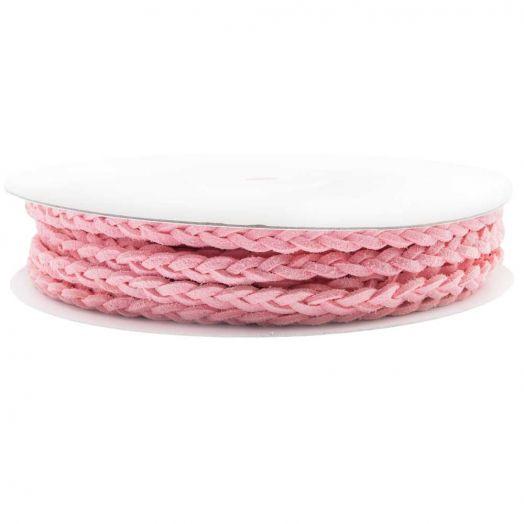 Gevlochten Faux Suede Veter (5 mm) Candy Pink (10 Meter)