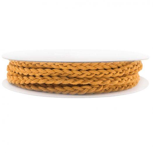 Gevlochten Faux Suede Veter (5 mm) Warm Yellow (10 Meter)