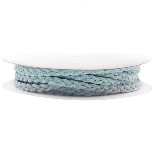 Gevlochten Faux Suede Veter (5 mm) Soft Blue (10 Meter)
