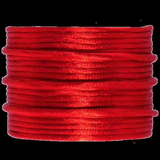 Satijnkoord (2 mm) Bright Red (15 Meter)