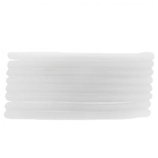Rubber Koord (3 mm) White  (5 Meter) holle binnenkant