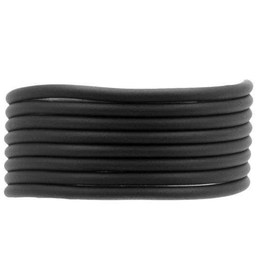 Rubber Koord (3 mm) Black (5 Meter) holle binnenkant