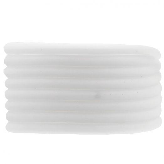 Rubber Koord (4 mm) White (5 Meter) holle binnenkant