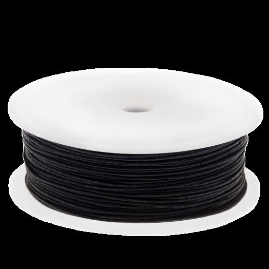Waxkoord (1 mm) Black (25 Meter)