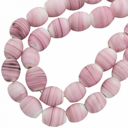 Glaskralen Mat (11 x 9 mm) Gestreept Pink (17 Stuks)