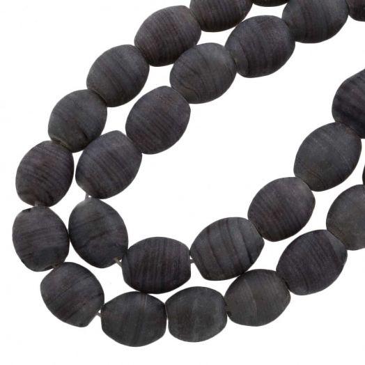 Glaskralen Mat (11 x 9 mm) Gestreept Dark Grey (17 Stuks)