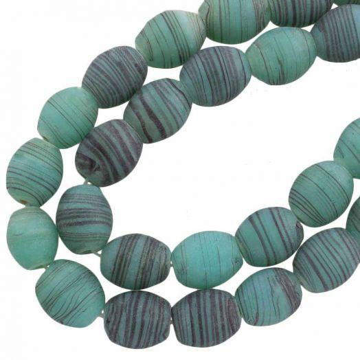 Glaskralen Mat (11 x 9 mm) Gestreept Sea Green (17 Stuks)