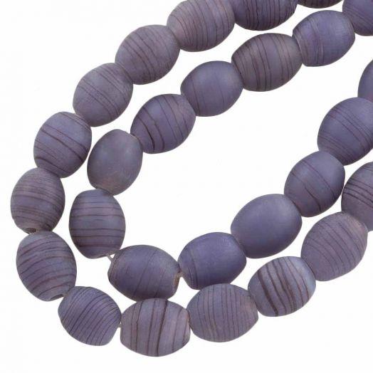 Glaskralen Mat (11 x 9 mm) Gestreept Mauve Purple (17 Stuks)