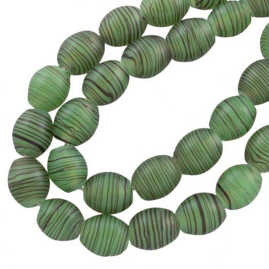 Glaskralen Mat (11 x 9 mm) Gestreept Green (17 Stuks)