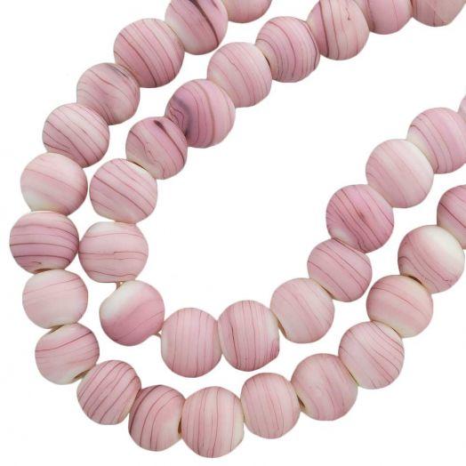 Glaskralen Mat (10 mm) Gestreept Pink (22 Stuks)