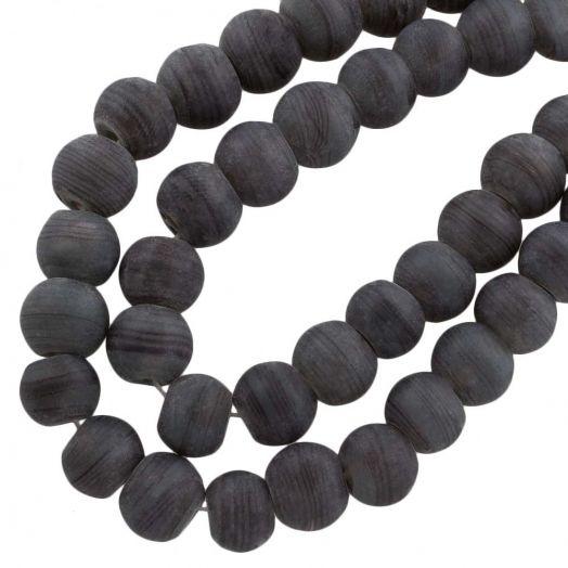 Glaskralen Mat (10 mm) Gestreept Dark Grey (22 Stuks)