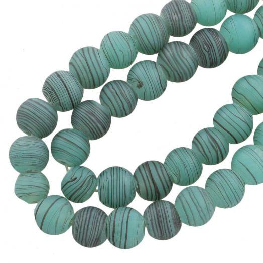 Glaskralen Mat (10 mm) Gestreept Sea Green (22 Stuks)