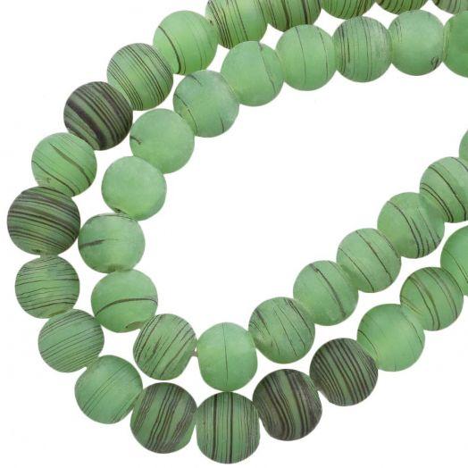 Glaskralen Mat (10 mm) Gestreept Green (22 Stuks)