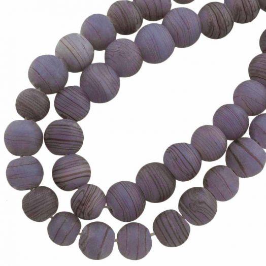 Glaskralen Mat (10 mm) Gestreept Mauve Purple (22 Stuks)