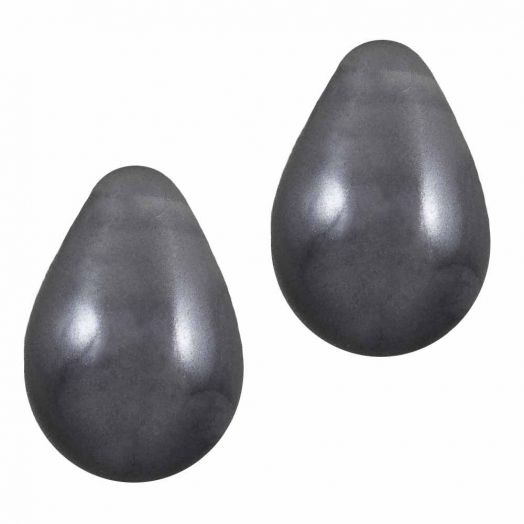 DQ Glasparels Druppel (9 x 6 mm) Dark Grey (20 Stuks)