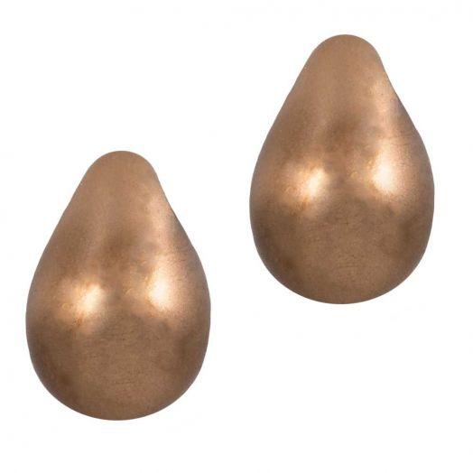 DQ Glasparels Druppel (9 x 6 mm) Bronze (20 Stuks)