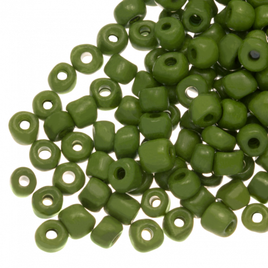 Rocailles (4 mm) Marble Crocodile Green (100 Gram)