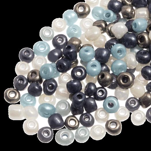 Rocailles (3 mm) Shine Silver Blue Mix (50 Gram)