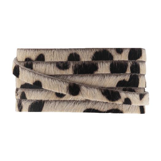 DQ Plat Leer Safari  (5 x 2 mm) Leopard Light Brown Print (1 meter)