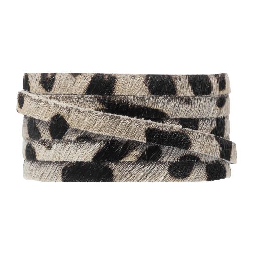 DQ Plat Leer Safari  (5 x 2 mm) Leopard Off white Print (1 meter)