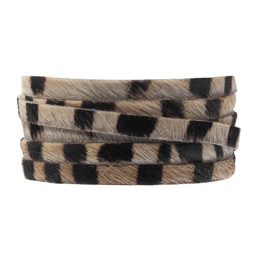 DQ Plat Leer Safari  (5 x 2 mm) Zebra Brown Print (1 meter)