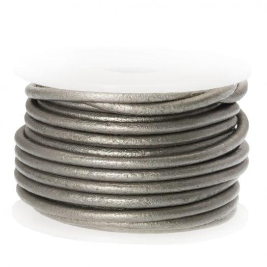 DQ leer Metallic (2 mm) Grey (5 Meter)