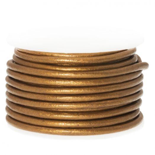DQ leer Metallic (2 mm) Sepia Brown (5 Meter)