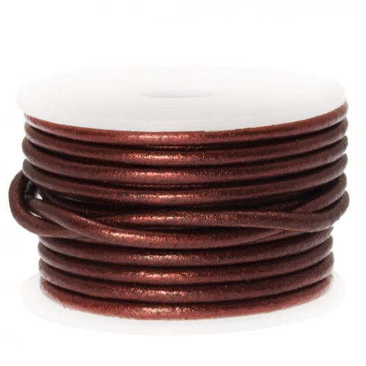 DQ leer Metallic (2 mm) Mahogany (5 Meter)