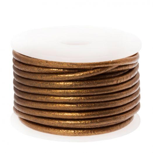 DQ leer Metallic (2 mm) Brown (5 Meter)