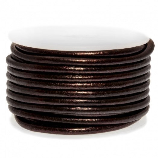 DQ leer Metallic (3 mm) Coffee Brown (5 Meter)