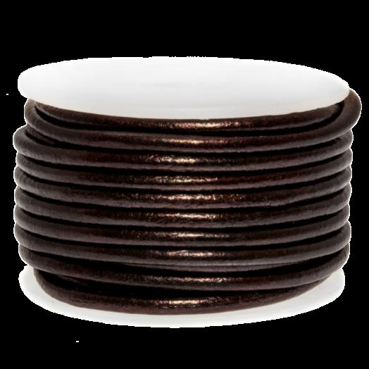 DQ leer Metallic (2 mm) Coffee Brown (5 Meter)