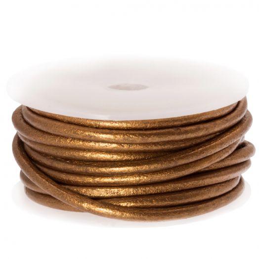 DQ leer Metallic (3 mm) Brown (5 Meter)