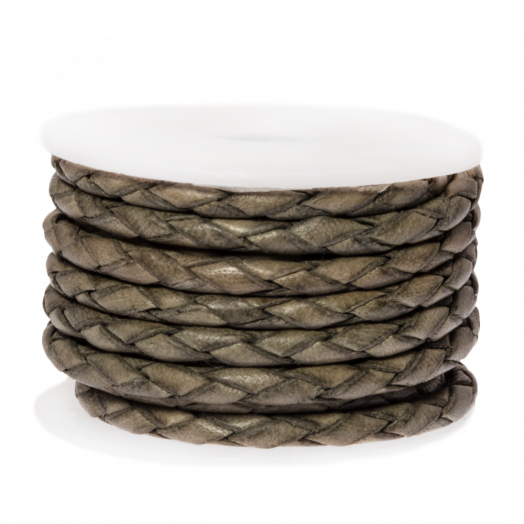 DQ Gevlochten Leer Vintage (3 mm) Grey Taupe (2.5 Meter)
