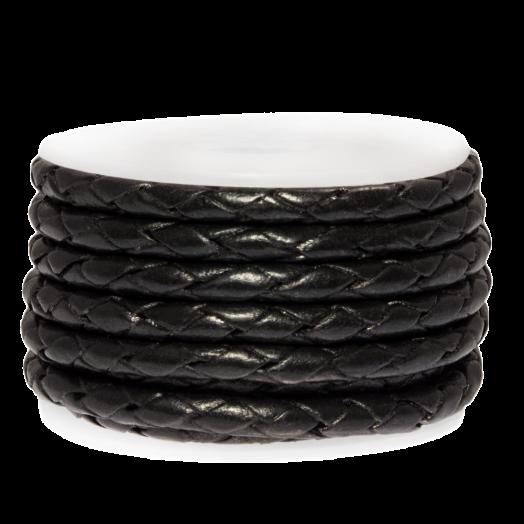 DQ Gevlochten Leer Metallic (3 mm) Black (2.5 Meter)