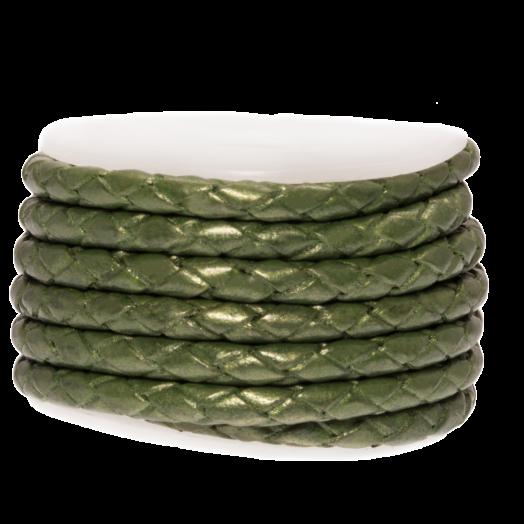 DQ Gevlochten Leer Metallic (3 mm) Olive Green (2.5 Meter)