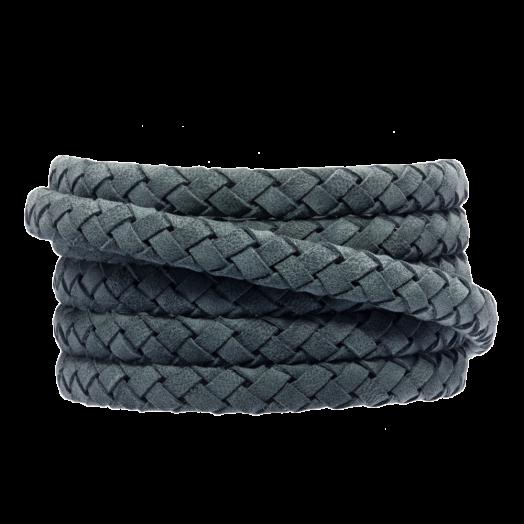 DQ leer Plat Gevlochten (6 x 3 mm) Stone Blue Grey (1 meter)