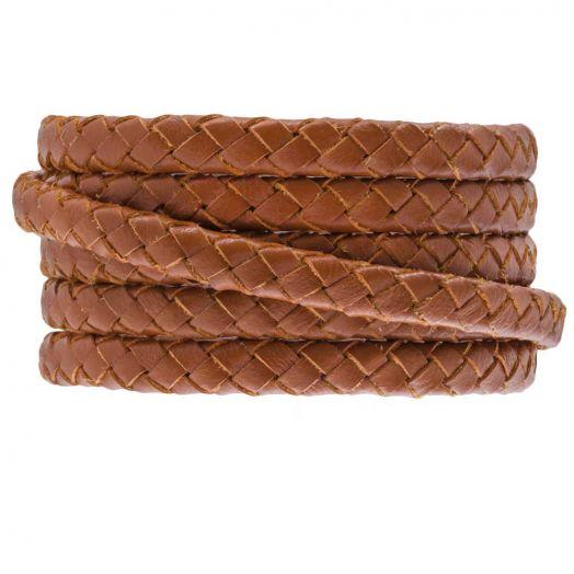 Ovaal gevlochten DQ leer (6 x 3 mm) Warm Brown (1 meter)